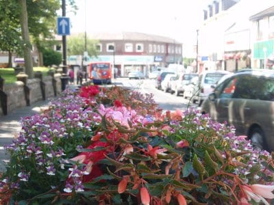 Flower baskets in Poulton town centre