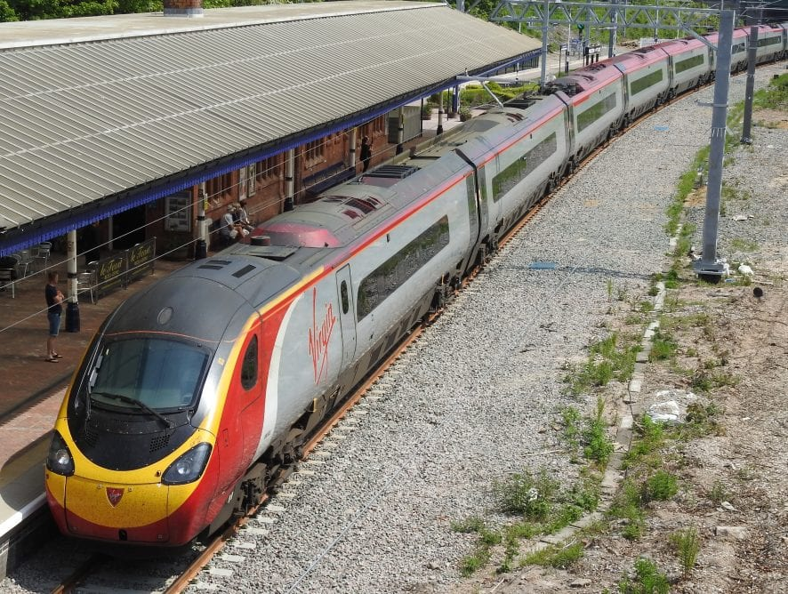 Passage of Pendolino through Poulton, following Railway Line Electrification