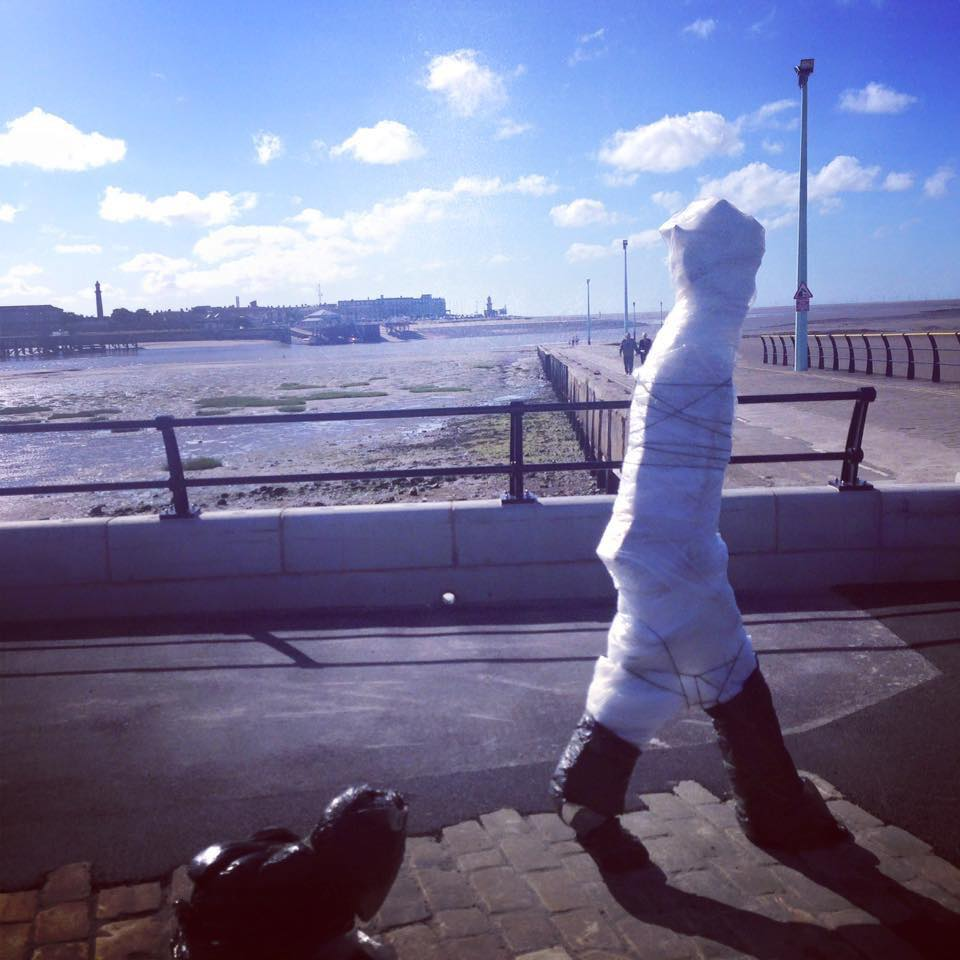 Lowry Statue at Knott End, awaiting unveiling