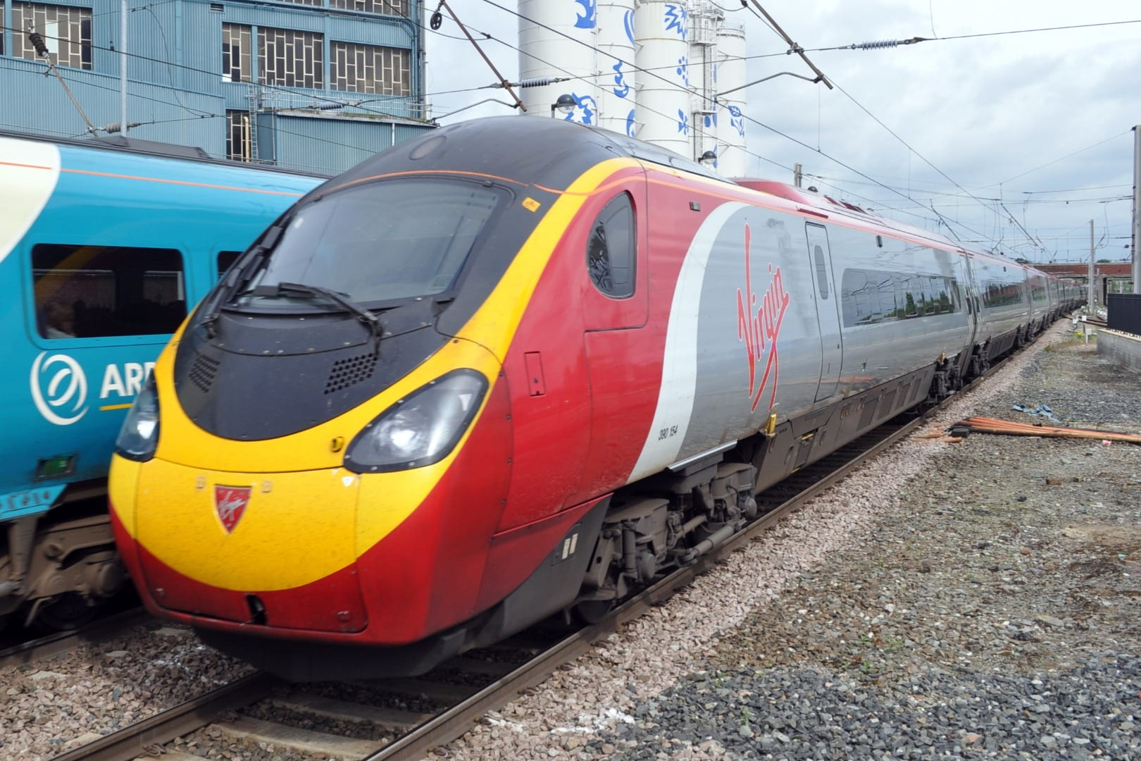 Pendolino train seen at Warrington, photo from Barrie C Woods