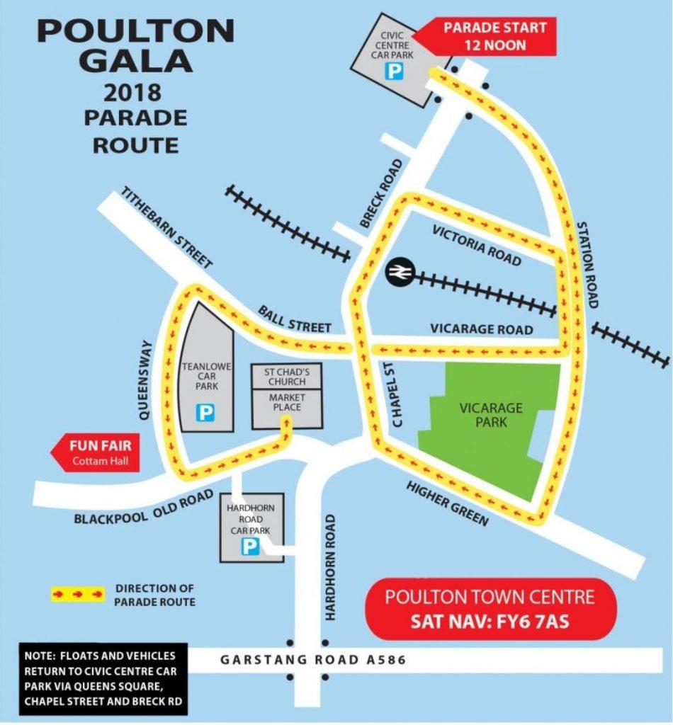Poulton Gala 2018 parade route
