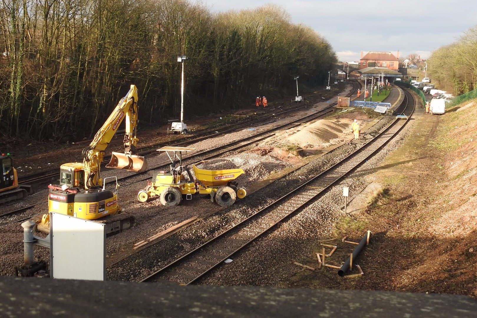 Electrification works underway at Poulton railway station
