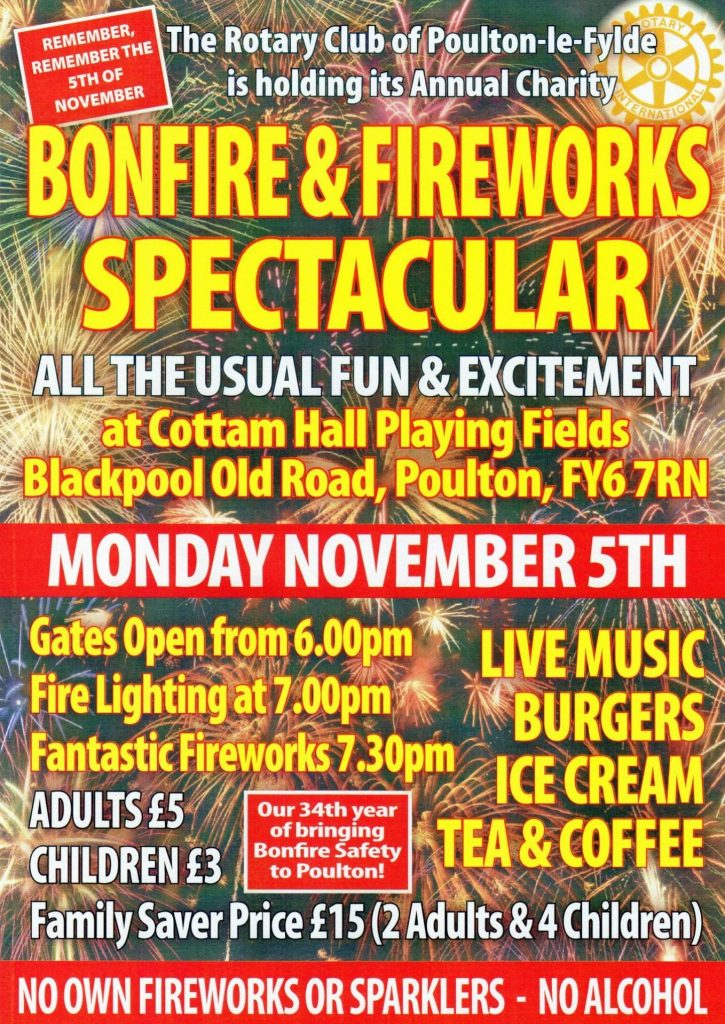 Poulton Bonfire and Firework Display at Cottam Hall Fields