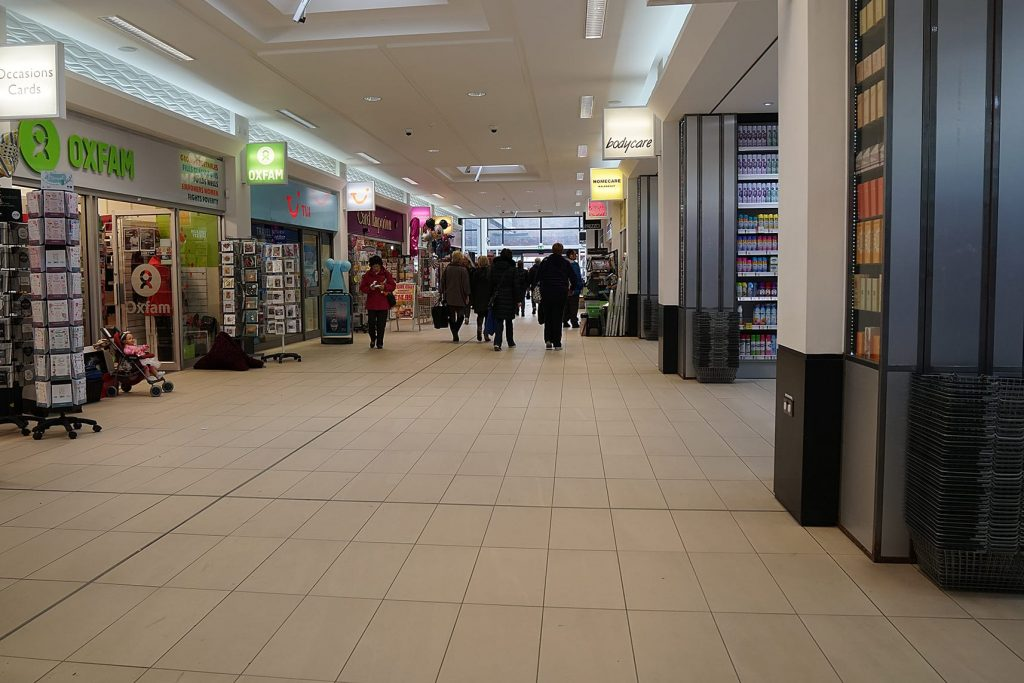 Inside the Teanlowe Shopping Centre in Poulton